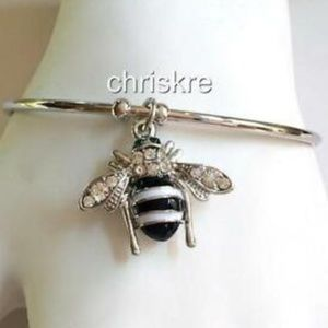 Jewelry - Silver Crystal Bumble Bee Bangle Bracelet White